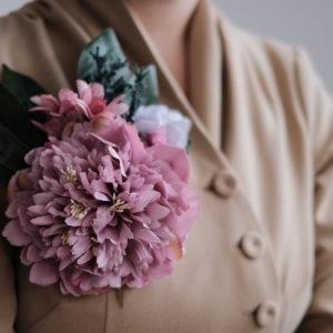 Vintage Blumen Brosche Pfingstrose
