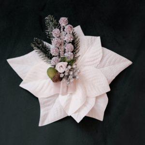 Vintage Ansteckblume Weihnachtsstern Weiß